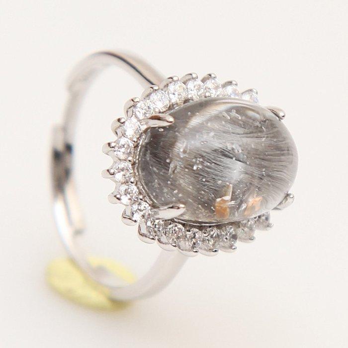 漂亮超值黑銀鈦戒指,925純銀活圍戒台