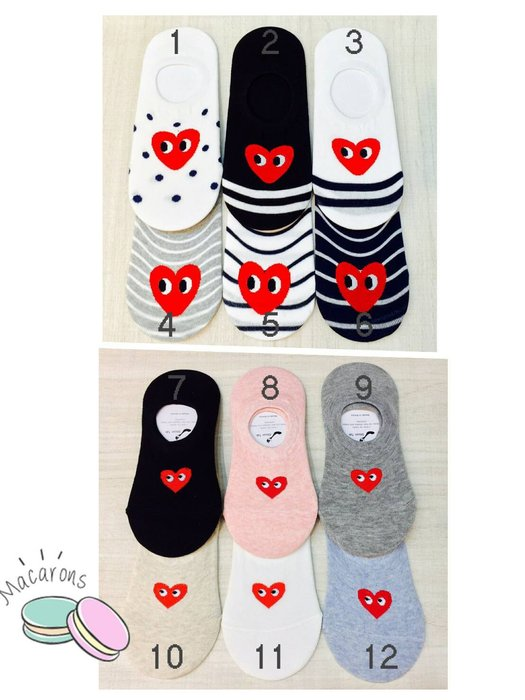 【傳說企業社】韓國空運 可愛大眼精愛心襪子 隱形襪 船型襪 女襪  短襪 運動襪 學生襪 兒童襪 棉襪 馬卡龍色系 條紋