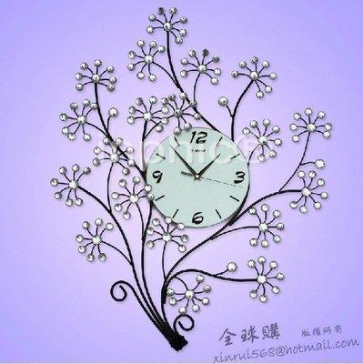 INPHIC-幸福樹鐵藝鑲鉆客廳掛鐘 時尚創意個性 歐式田園靜音時  家居裝飾