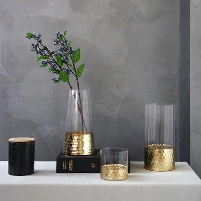 賓士印象~ladylike 金色金箔蜂窩玻璃花瓶 北歐現代簡約風家居軟裝飾品擺件