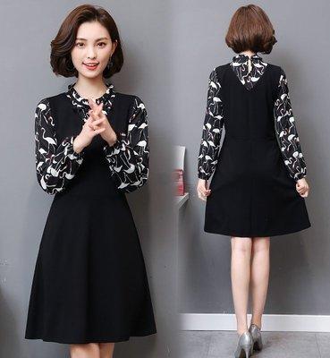 GOGO SHOP☆╭韓版新款 時尚印花假兩件洋裝 拼接設計 連身裙【Y1610】XL~5XL大尺碼洋裝 裙子