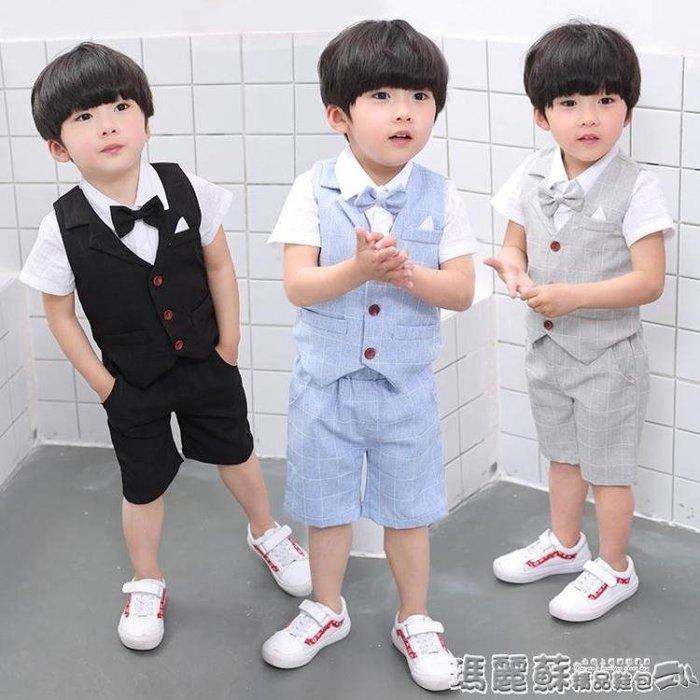 禮服 男童禮服寶寶套裝夏季周歲花童兒童西服英倫紳士小西裝演出服