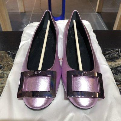 *金選名店*Roger Vivier*RV*大出清8800 金屬粉紫色方釦娃娃鞋 / 平底鞋 39號