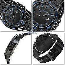 【錶飾精品】CK錶 K5Y31YB1 紳士運動款 日期 黑面黑框藍時標 黑帆布皮帶男錶 全新原廠正品