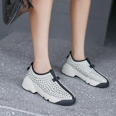 『紫藤花園』水鉆厚底松糕懶人鞋女真皮2020秋季新款歐美蝴蝶結高跟坡跟單鞋潮A60