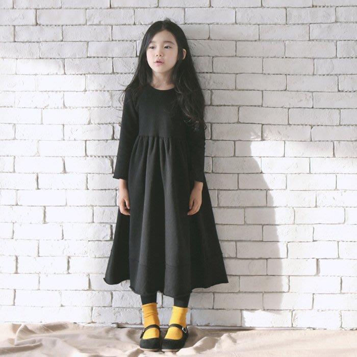 [C.M.平價精品館]165現貨/品味有型大襬黑色長袖洋裝  小中童/大童