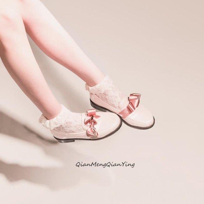 纖夢纖盈蝴蝶結小皮鞋女JK制服鞋學院風圓頭軟妹梅露露lolita鞋