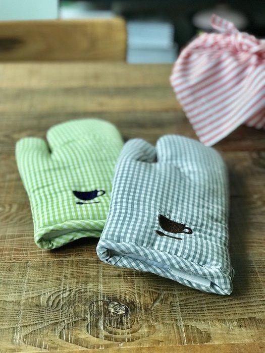 發現花園 日本選物- 日本 栗原harumi 可掛式 厚手 隔熱手套 廚房手套 ~ 灰格子/綠格子