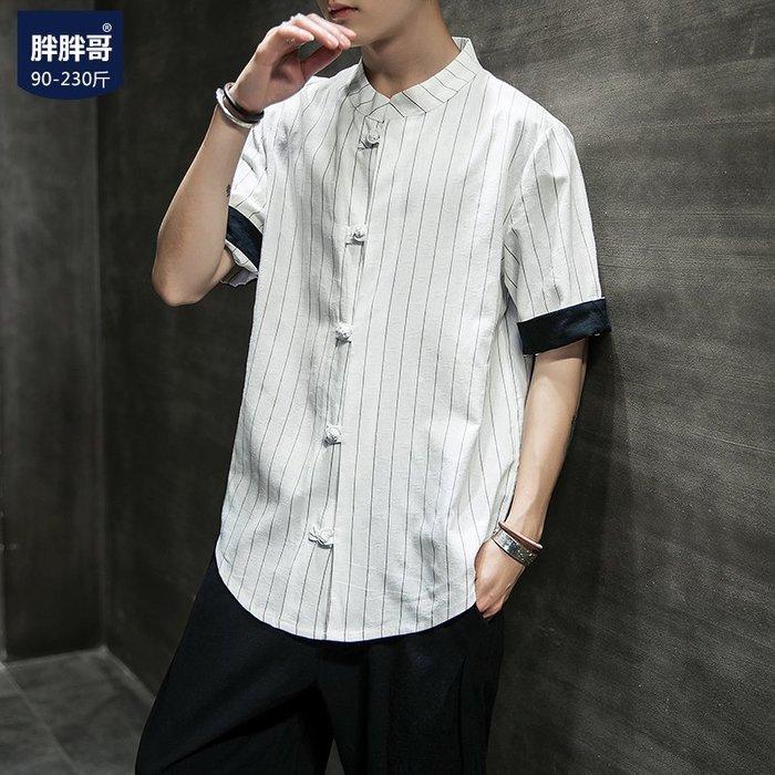 襯衫 胖胖哥短袖襯衫夏季條紋襯衣男士白色亞麻上衣韓版流大碼時尚男裝