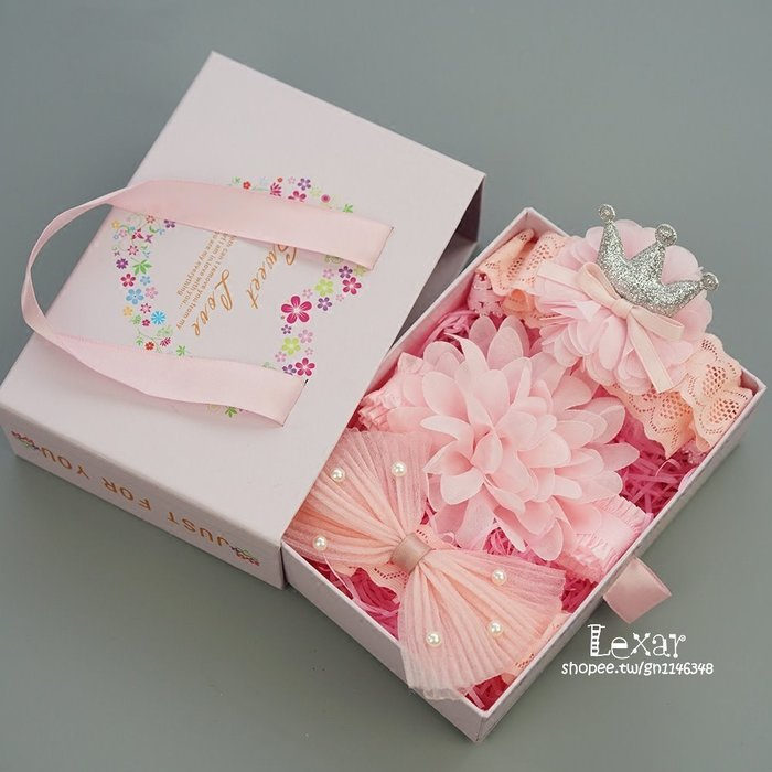 韓版嬰兒蝴蝶結髮帶禮盒0-1歲女寶寶花朵皇冠頭花髮箍滿月百天