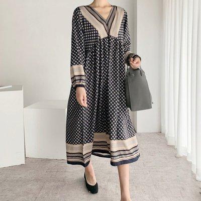 長袖洋裝連身裙 復古V領印花高腰縮口袖洋裝 艾爾莎【TGK8065】