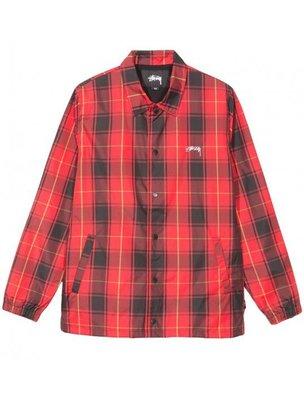 ☆ETW☆【一中店】 STUSSY CRUIZE COACH JACKET 風衣外套 教練外套 夾克 紅色 格紋 格子