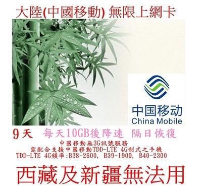 【杰元生活館】9天 大陸(中國移動)上網卡 手機需支援 每天10GB後降速