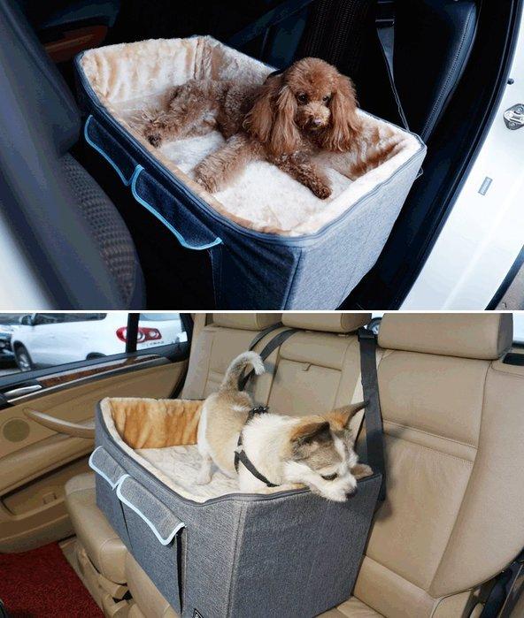 petsfit 新款 寵愛毛小孩 寵物狗窩貓窩 透氣質感 車載墊 外出防髒車載沙發 睡墊[雪花灰L]♥目前預購期約12天