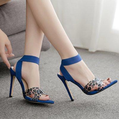 世界購 歐美新款PVC交叉帶細高跟涼鞋 性感淺口11CM走秀高跟細跟鞋 大碼41