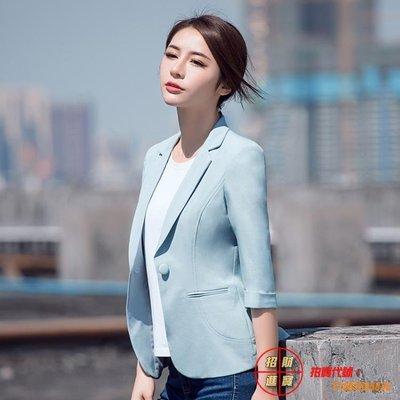 西裝外套 西裝外套女秋裝新款韓版修身七分袖百搭薄款黑色小西服短款小香風全館免運