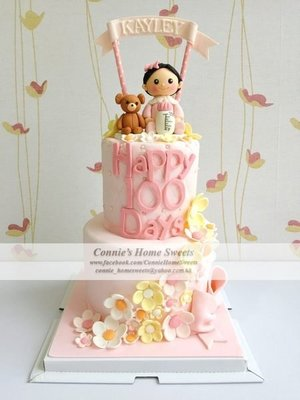 【Connie's Home Sweets】Baby Girl Birthday Cake 生日蛋糕 BB百日宴 滿月酒 Baby Shower 100 days