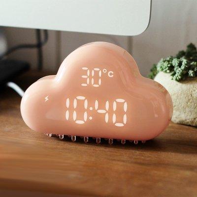 創意雲朵USB充電聲控鬧鐘學生兒童可愛臥室床頭LED電子簡約靜音夜光 液晶數字顯示可吸附牆電子時鐘