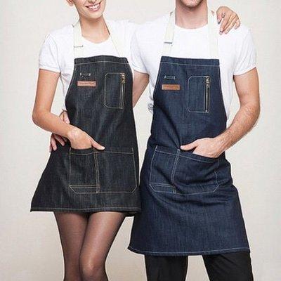 圍裙甜心~牛仔韓版時尚男女工作裙烘焙咖啡廳-【長版硫化黑色】【現貨】