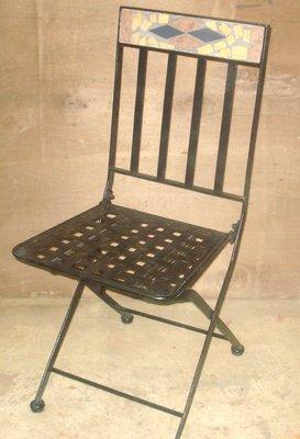[尚霖傢俱館]戶外桌椅   維納斯馬賽克 鐵管椅 (一組兩張)