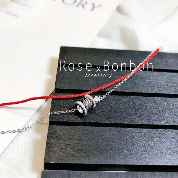 正生銀飾  紅繩 純銀手鍊小蠻腰鑲鑽 三環 轉運開運 桃花人緣 戀愛運 銀色手飾 手鐲 手環Rose Bonbon