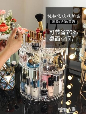 旋轉化妝品收納盒透明壓克力梳妝臺護膚品口紅桌面整理置物架【宜家元素馆】