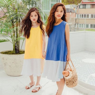 iKIDS♬2019夏季 新款 韓版 女童 童裝 中童 大童 拼接款 黃色 藍色 沙灘裙 洋裝 親子裝(預購) PO