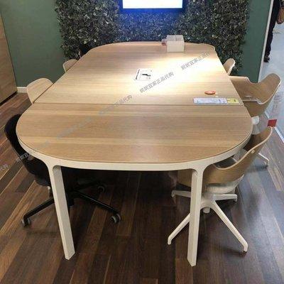 國內代購宜家家居貝肯特會議桌白色橡木貼面橢圓形辦公室簡約現代