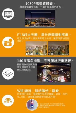 (送32G卡)【皓翔】愛國者GODEYES M99 高畫質1080P 無線 WIFI  傳輸防水雙鏡機車行車紀錄器