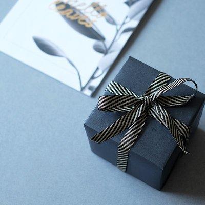 黑色亮金色條紋斜紋INS絲帶金屬質感細條紋間色禮物盒包裝織帶