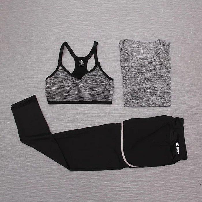 【滿599免運】三件組運動套裝 修身彈力上衣 無鋼圈 可調式內衣 假兩件九分褲  運動套裝