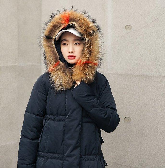 SeyeS  雜誌英倫街頭個性自然風韓妞百搭混色毛毛連帽長版厚鋪棉保暖外套
