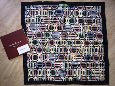 【全新】Salvatore Ferragamo 圓圈圖案 絲巾 100% silk 義大利製
