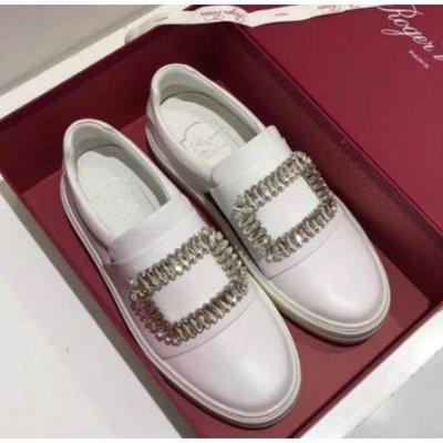 正品二手 ROGER VIVIER Sneaky Viv 經典水晶 水鑽方扣 單扣牛皮懶人鞋 白色