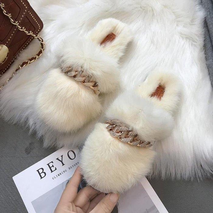秋冬季毛毛鞋2019新款網紅毛毛拖鞋女外穿時尚女鞋羊羔毛棉拖半拖
