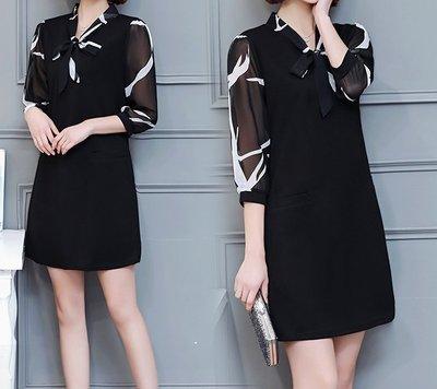 GOGO SHOP☆歐美新款 加大碼女裝 雪紡印花拼接連身裙【Y1426】M~XL另背心裙 洋裝 T恤上衣 大碼水水