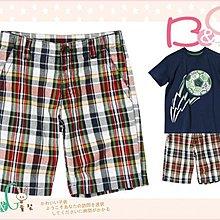 【B& G童裝】正品美國進口Crazy8  灰紅色條紋格男童短褲7號6-7yrs