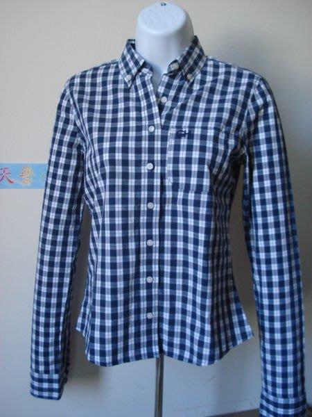 【天普小棧】A&F GILLY HICKS Brisbane Waters Shirt長袖深藍格紋襯衫XS號現貨抵台