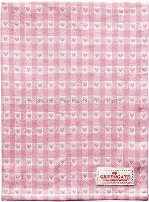 GreenGate Tea Towel Heart Petit Pale Pink