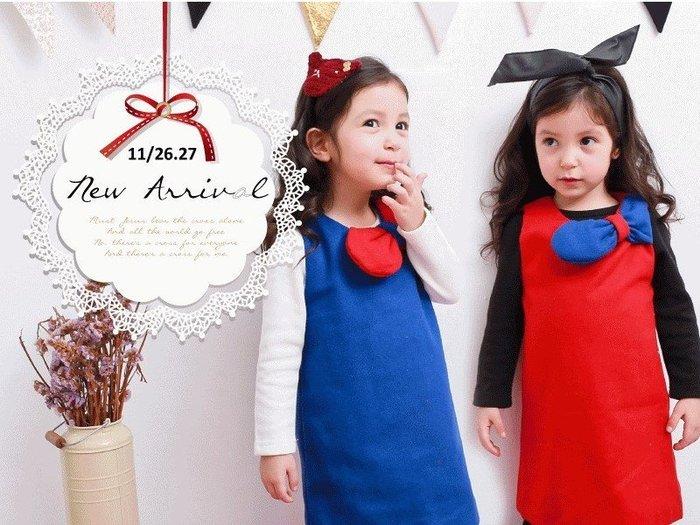 【RG2112610】秋冬款~左飾大蝴蝶結毛呢背心洋裝(紅/藍)$99