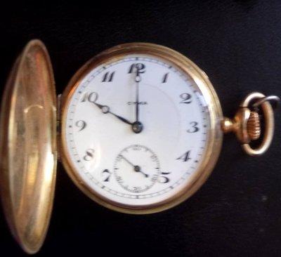 [亞瑟小舖]絕版瑞士原裝西馬 CYMA 18 K金古董老懷錶獲得1910-14年比利時布魯塞爾首獎!!!