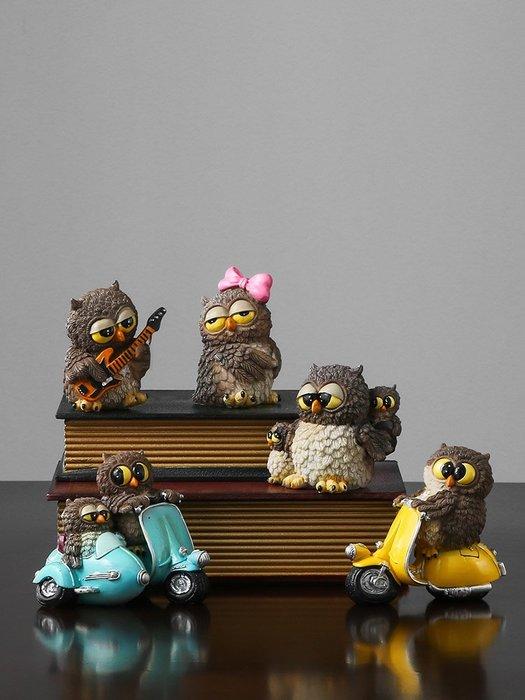 韓國Baby~美式復古樹脂迷你貓頭鷹擺件店鋪商鋪辦公室軟裝飾品櫥窗擺設
