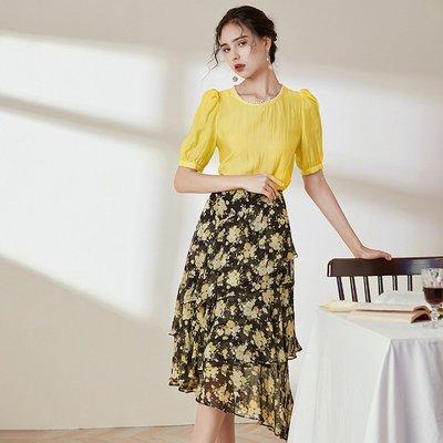 ♈尹愛服飾♈3009112時髦修身顯瘦上衣+印花荷葉邊半裙兩件套裝