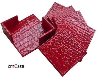 = cmCasa = [681]紅色鱷魚皮革杯墊組6入含收納盒 豪宅新居House Warming 禮品首選 另有黑色