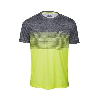 【曼森體育】LOTTO 慢跑 機能 T-SHIRT 短袖 男款 (黃灰) 排汗