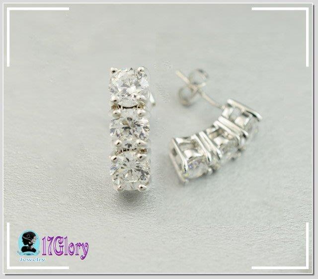 超閃925純銀 50分三顆擬真鑽石耳環 優雅高貴 新娘 婚宴 禮服 時尚穿搭 珠寶配件  #現貨✽17Glory ✽