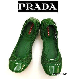 喬瑟芬【PRADA】2010 春夏 綠色/黑色 MESH SCRUNCH芭蕾舞/娃娃鞋(2色)~特價$9000含運