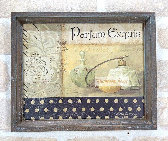 點點蘑菇屋 復古木框香水瓶木板畫 歐風仿舊有框畫 古典木製壁飾 掛畫 鄉村風 現貨