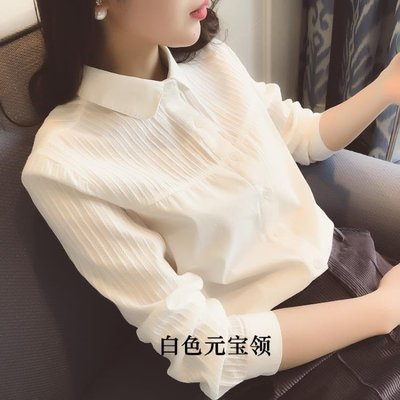 正裝襯衫正韓白色襯衫女長袖秋季新款職業正裝工作服工裝百搭白襯衣女