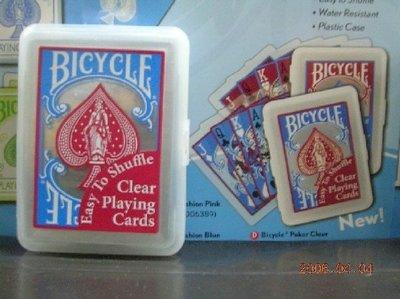 撲克牌BICYCLE 808透明 塑膠牌 藍色(紅桃)